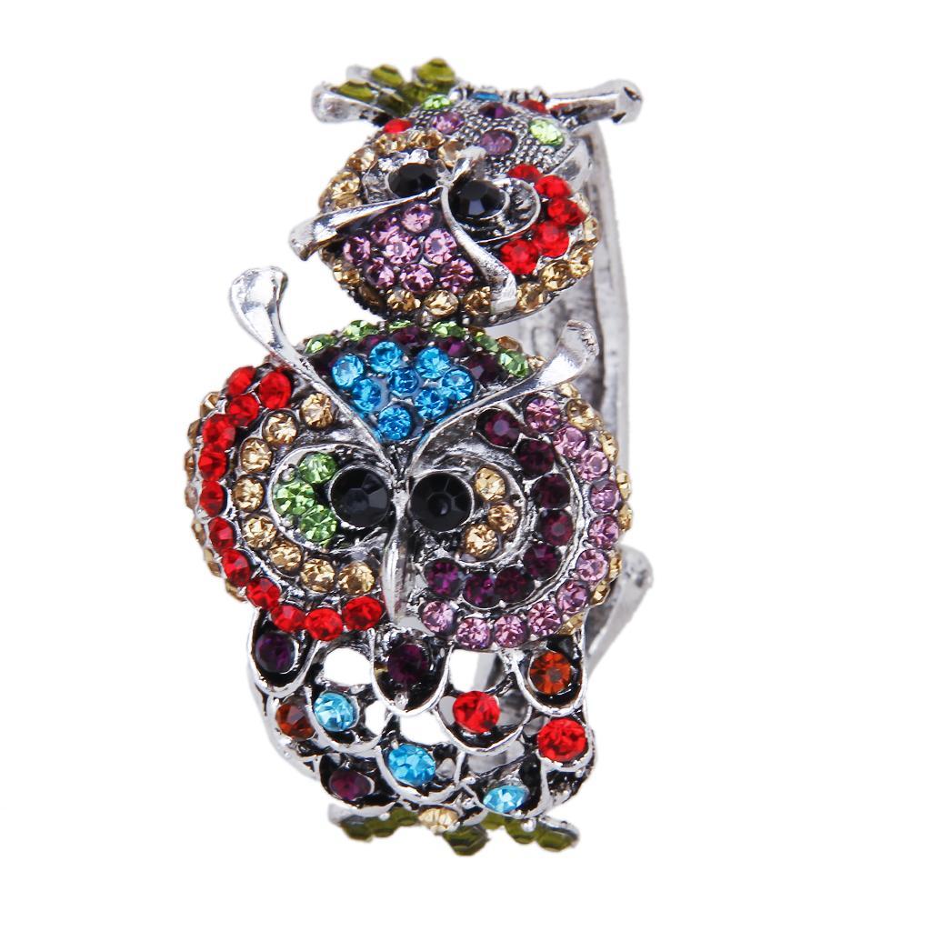Rhinestone Double Owl Wrist Hinge Bangle Bracelet Wrist Wrap