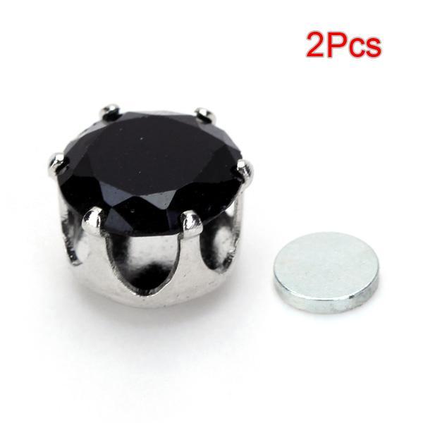 2Pcs Magnet Base Ear Studs with Round Shining Rhinestone - Black
