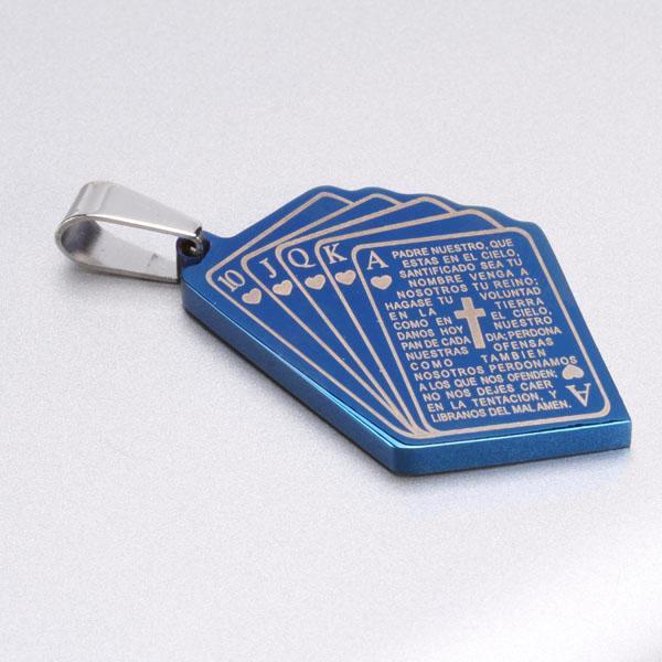 Lucky Royal Flush Hearts Poker Titanium Steel Pendant Necklace