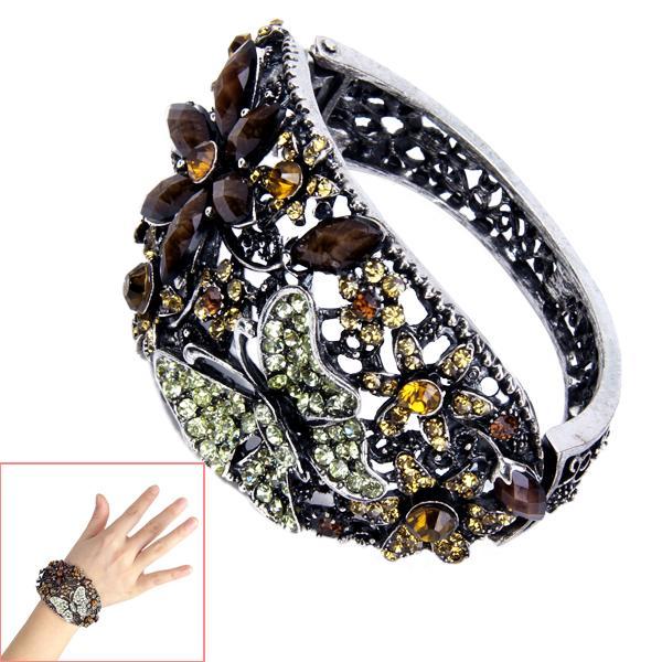 Retro Vintage Silver Extra-wide Shining Rhinestone Spring Hinge Bangle Bracelet Wrist Wrap