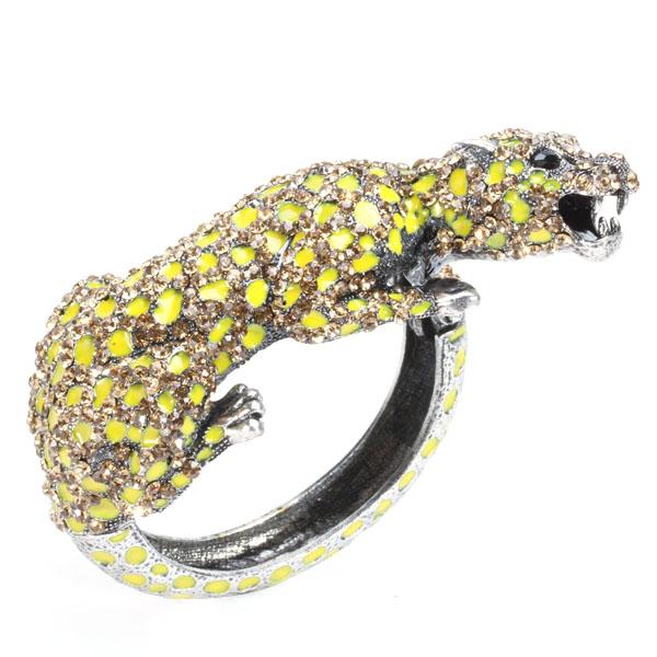 Rhinestone Leopard Wrist Hinge Bangle Bracelet Wrist Wrap