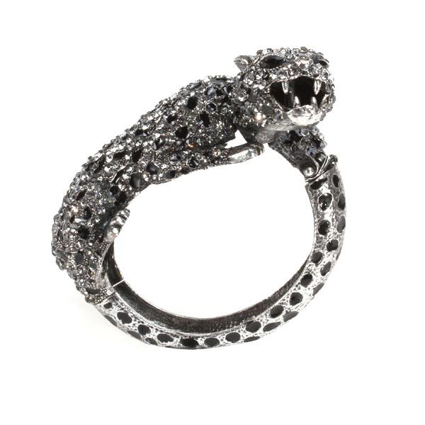 Rhinestone Leopard Wrist Hinge Bangle Bracelet Wrist Wrap - Silver