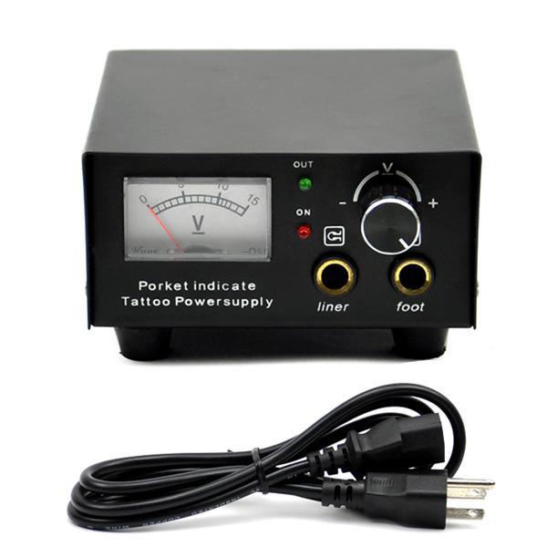 Black Iron Casing Dial Pointer Show Tattoo Power Supply US Plug