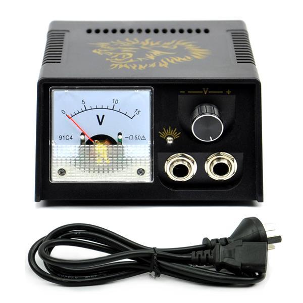 Black Casing Golden Lion Dial Pointer Show Tattoo Power Supply AU Plug( 3 Pins)