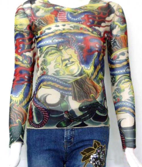 Women 39 s oriental myth mesh tattoo shirt long sleeve tattoo for Mesh tattoo shirt