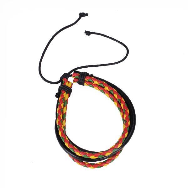 Colorful Multilayer Leather Bracelet Wristband Jamaica Reggae Hiphop Punk Style