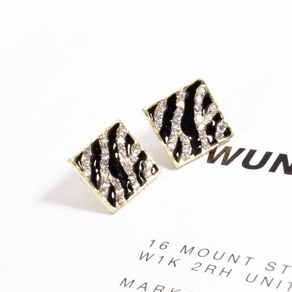 Black Square Zebra Rhinestone Earring Studs