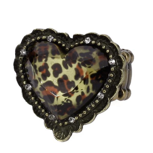 Vintage Leopard Grain Peach Heart Elastic Band Women Ring