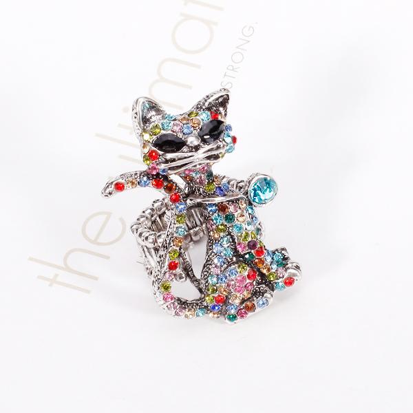 Colorful Rhinestone Cute Cat Elastic Cocktail Finger Ring