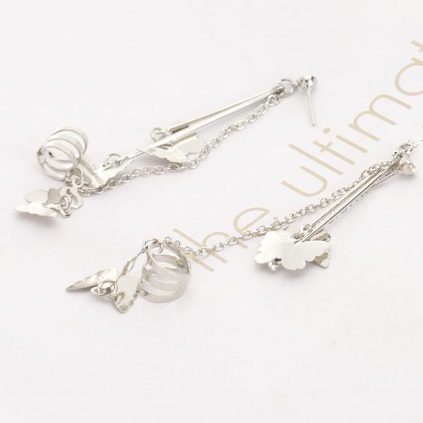 Butterfly Chain Ear Cuff Clip Piercing Earrings Silver