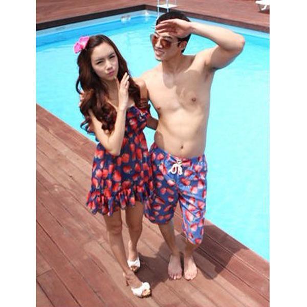 Sexy Sweet Strawberry Womens Halter Swimwear Bikini Set with Strapless Empire Waist Dress 3Pcs SZ L