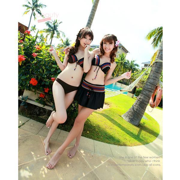 Sexy Womens Halter Swimwear Bikini Set with Mini Skirts 3Pcs SZ L