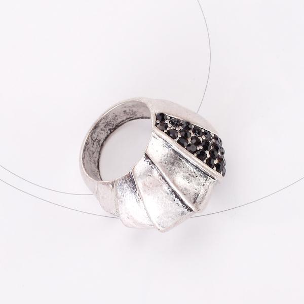 Antique Silver Punk Rock Finger Ring Armor Ring w/ Rhinestone