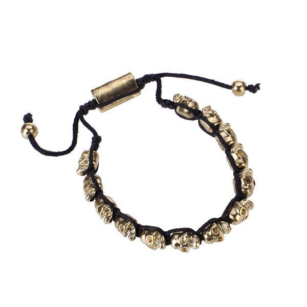 Handmade Golden Skull Head Bead Woven Bracelet