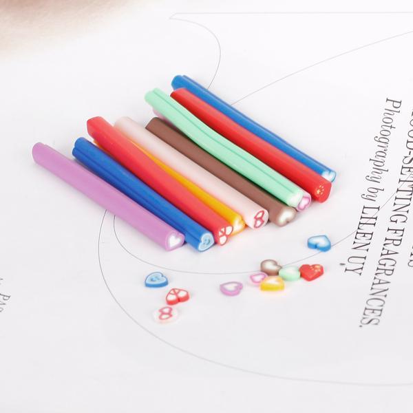 10Pcs Heart-shaped Slice Fimo Polymer Clay Cane Nail Art
