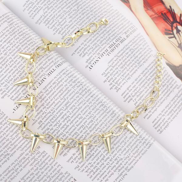 Gothic Golden Rivet Pendant Chain Necklace