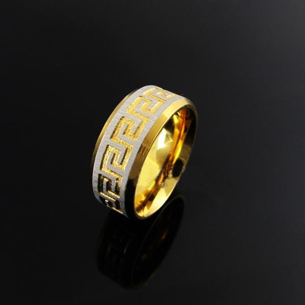 Engraved Meander Design Mens Titanium Steel Ring Golden Size 9 1/8
