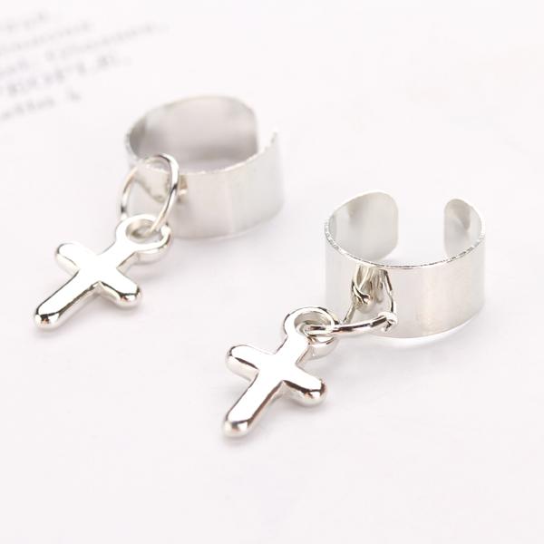 1 Pair Korea Fashion Cross Ear Clip Cuff Stud Earrings