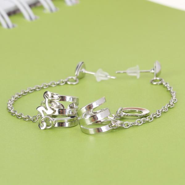Pair Annulus Chain Ear Cuff Clip Piercing Earrings