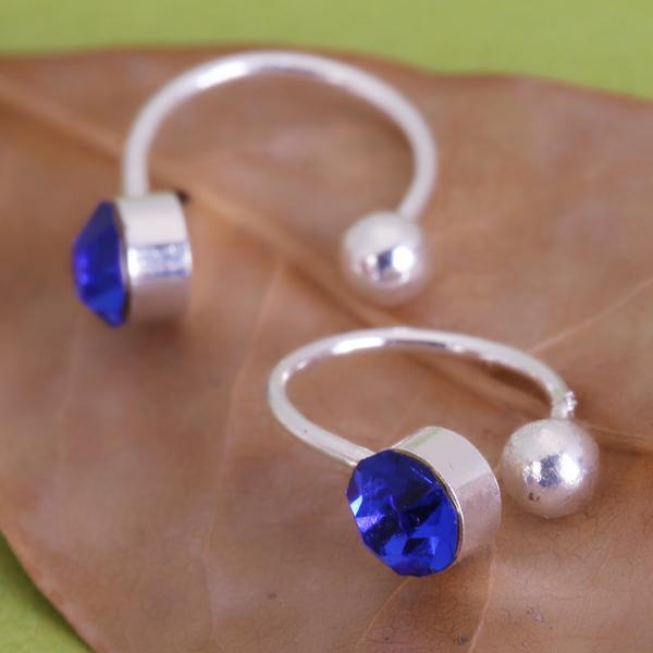 Pair U Clip On Earrings Ear Cuff Studs w/ Royal Blue Rhinestone