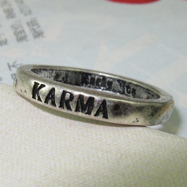 Vintage Women Plain Ring w/KARMA Character Silver