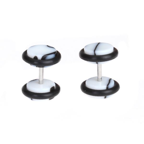 Pair Fake Cheater Ear Stretcher Expander 16G Stem Plug Stud Earring
