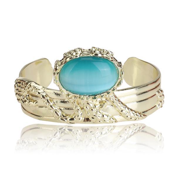 Vintage Opal Blue Imitation Stone Chunky Gold Plating Arty Cuff Bracelet