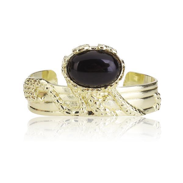 Vintage Black Imitation Stone Chunky Gold Plating Arty Cuff Bracelet