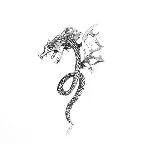 Antique Silver Gothic Punk Temptation Dragon Bite Ear Cuff Wrap Earring