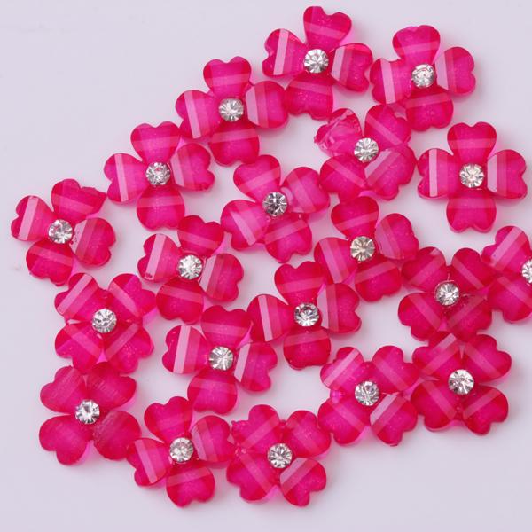 20Pcs Lovely Clover Flower Bling Bead Nail Art Accessories Cellphone Decoration - Fuchsia