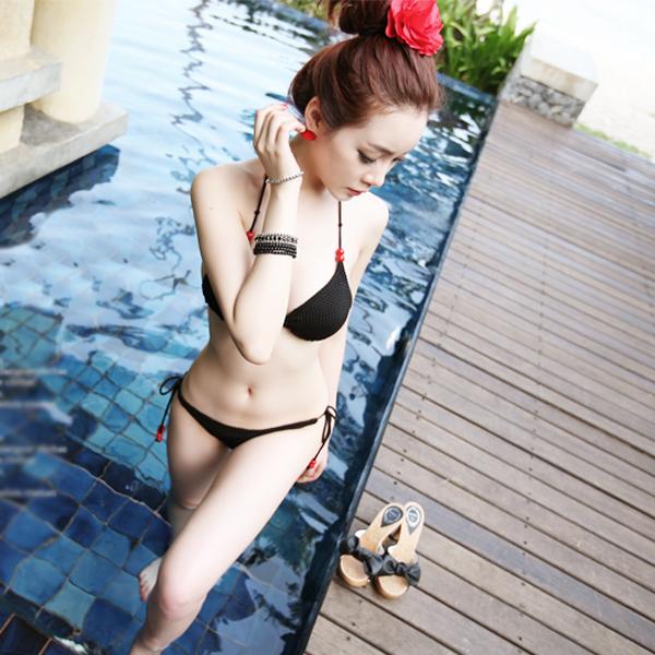 3Pcs Sexy Strung-up Womens Halter Swimwear Bikini with Sundress Cover Set Size XL