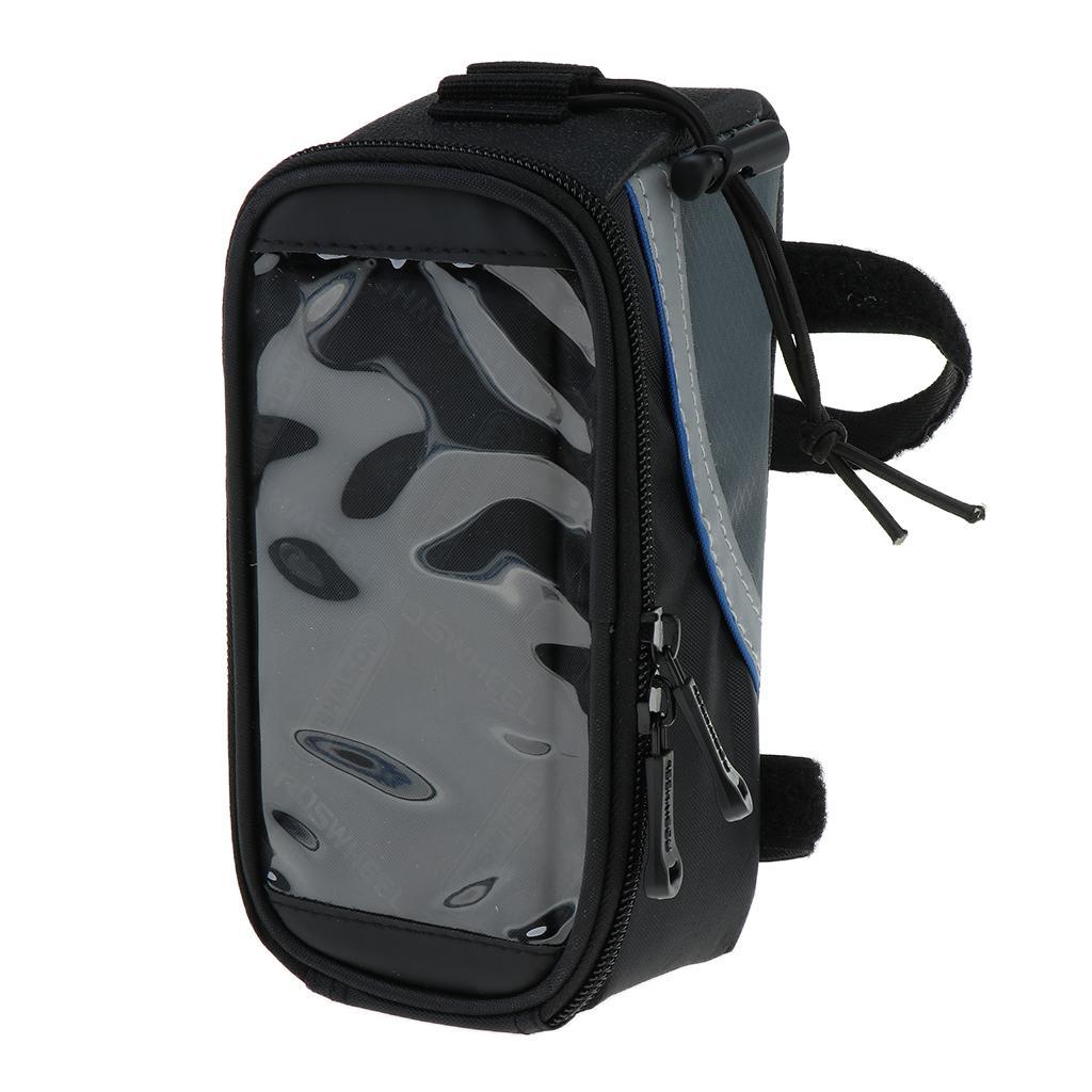 Bicycle Frame Pannier Bag Front Tube Bag Cycling Cellphone Frame Bag Black + Blue