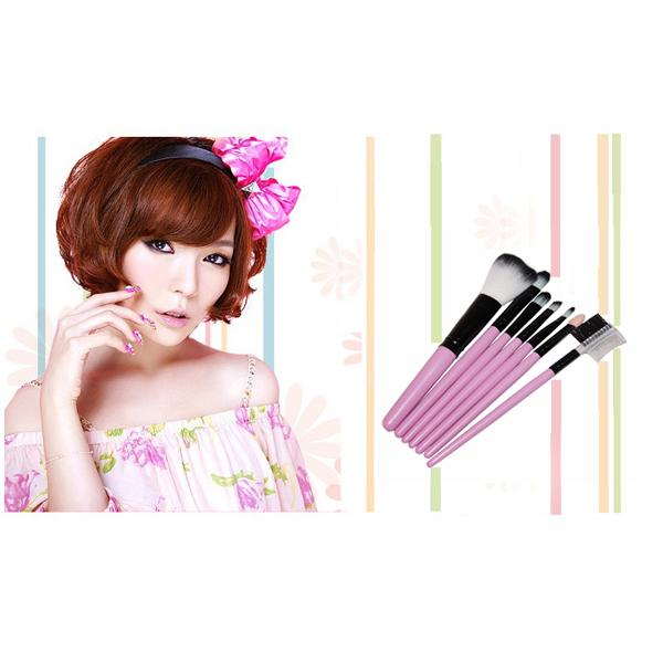 7pcs Powder Blush Makeup Brush Cosmetic Brushes Set Kit with Hot Pink Pouch
