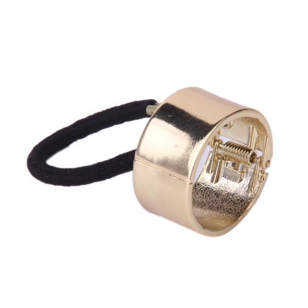 Golden Ponytail Holder Metal Circle Ring Alloy Hair Band Rope