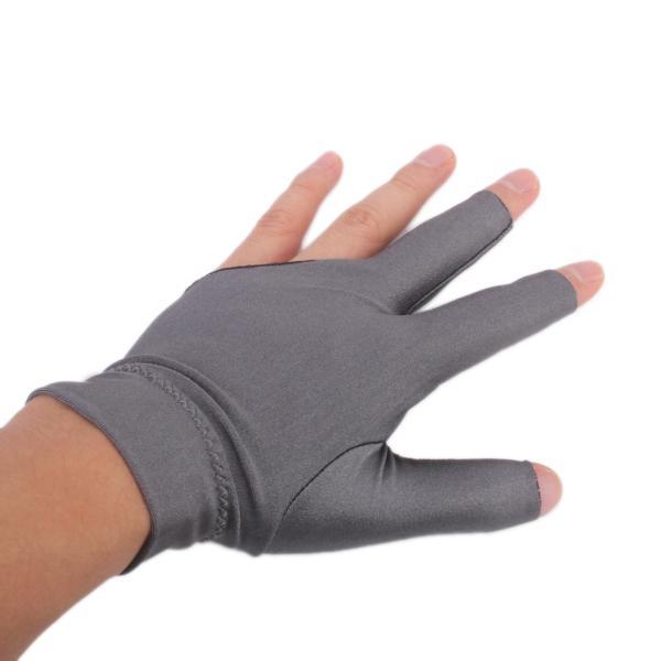 Professional Billiard Left Hand Three Finger Open Fingertip Glove Grey