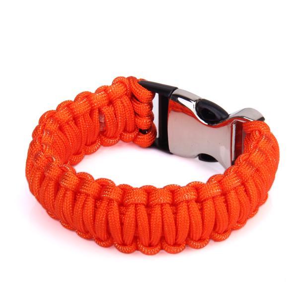 Outdoor Camping Survival Parachute Cord Fishbone Bow Shackle Bracelet Orange + Silver + Black