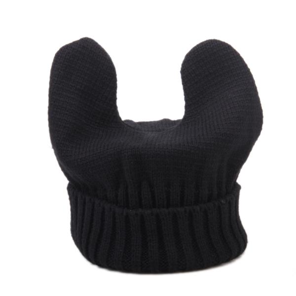 Black Cute Knitted Devil Beanie Unisex Winter Warmer Cat Ear Cap Horn Hat