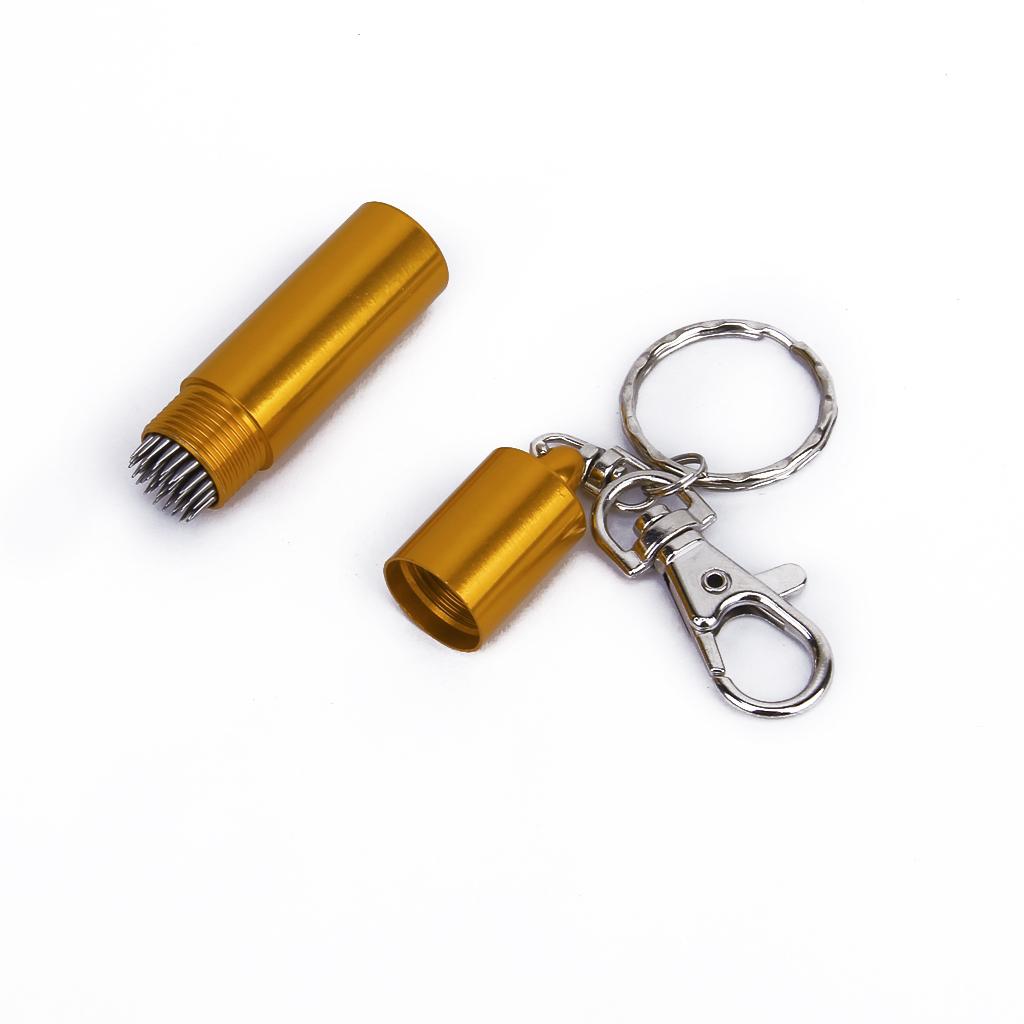 Billiards Pool Cue Tip Repair Tool Tip Pik w/ Key Chain - Golden