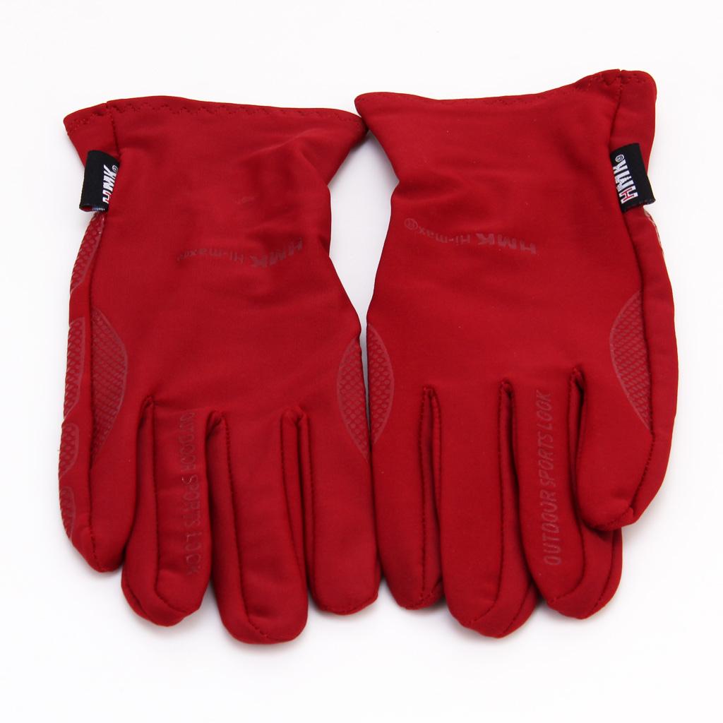 Outdoor Mountain Biking Lycra Elastic Anti-skidding Gloves Dark Red - S