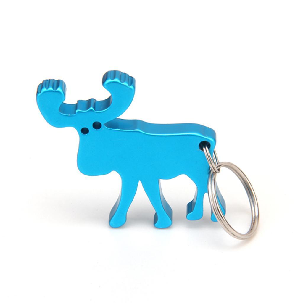 Reindeer Shape Bottle Cap Opener w/ Key Ring - Blue