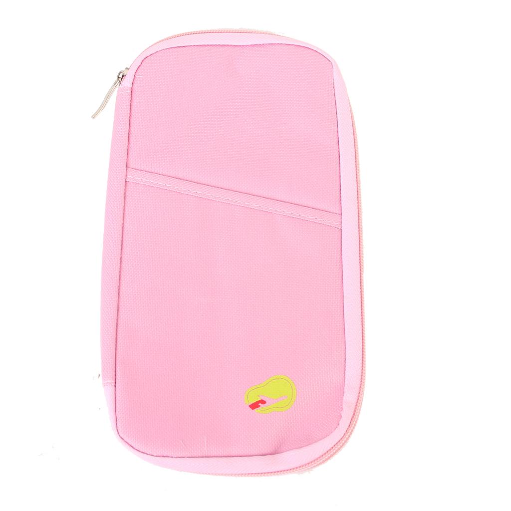 Pink Multi-functional Passport Ticket ID Card Holder Organizer Case Bag
