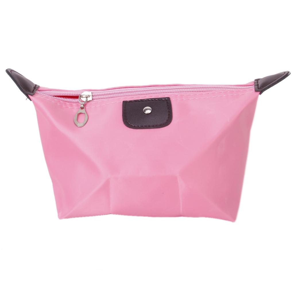 Waterproof Simple Cosmetic Makeup Travel Bag Pouch Zipper Pencil Pen Case-Pink
