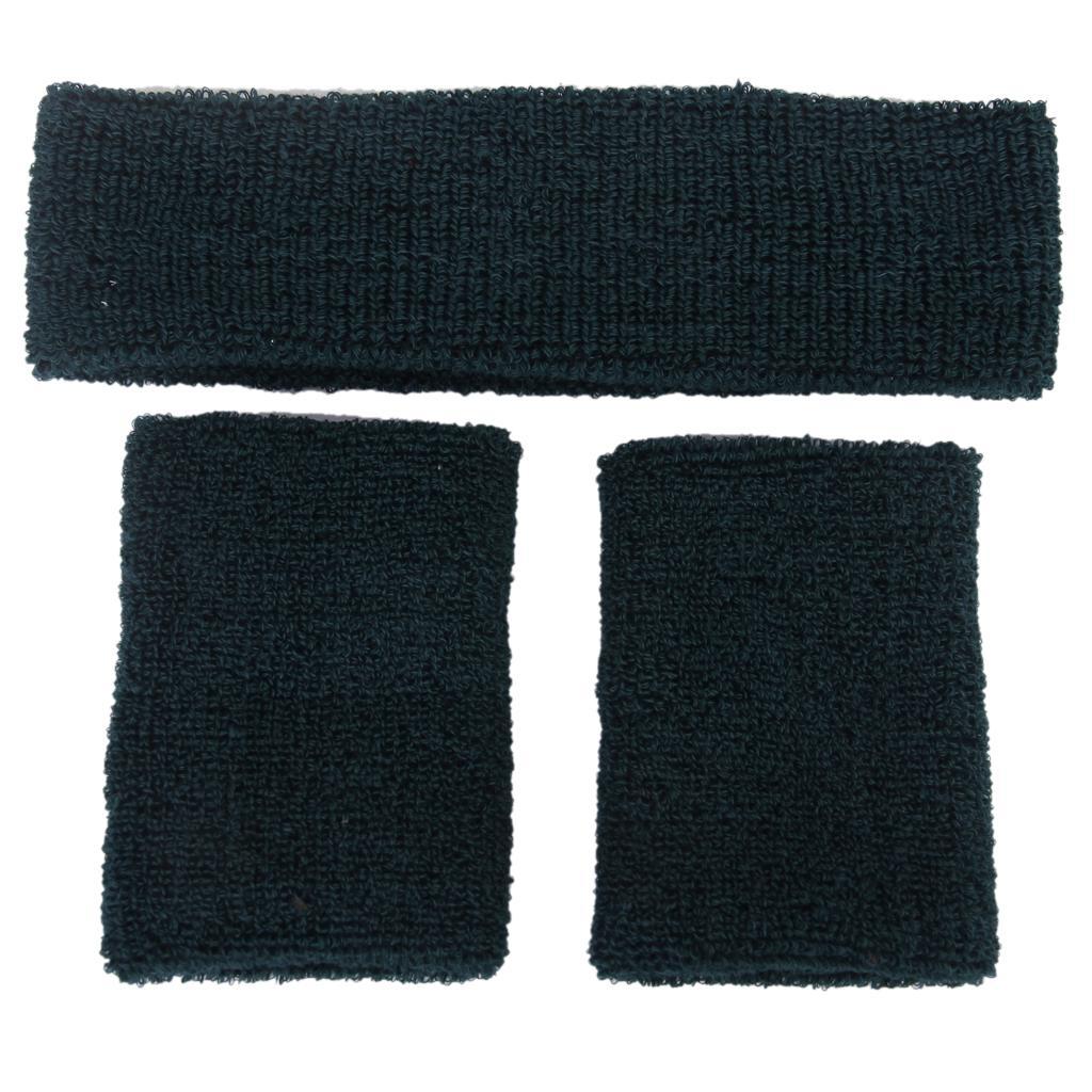 Elastic Sweatband Set 1x Headband 2x Wristbands For Sports-Dark Green