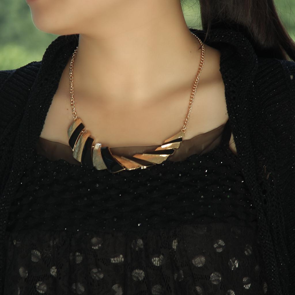 Fashion Womens Gold Metal Colorful Glazed Enamel Clavicle Bib Collar Choker Necklace