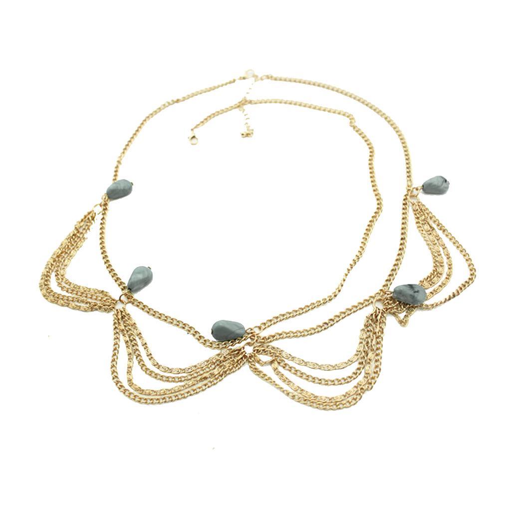 Gold Metal Tassel Chain Turquoise Beads Boho Forehead headband Hairpiece Hair Band