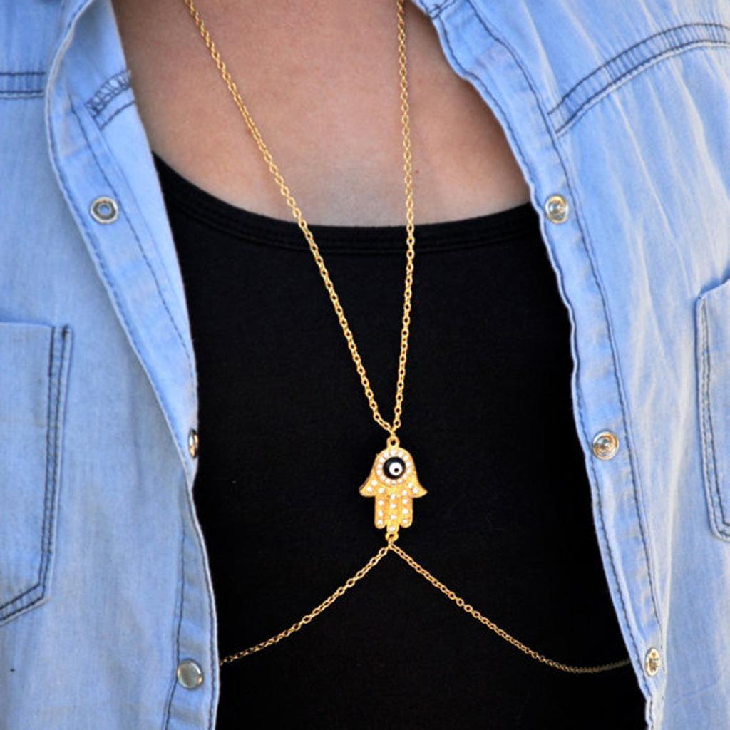 Women Fashion Punk Gold Tone Crystal Hand Eye Necklace Waist Body Chain