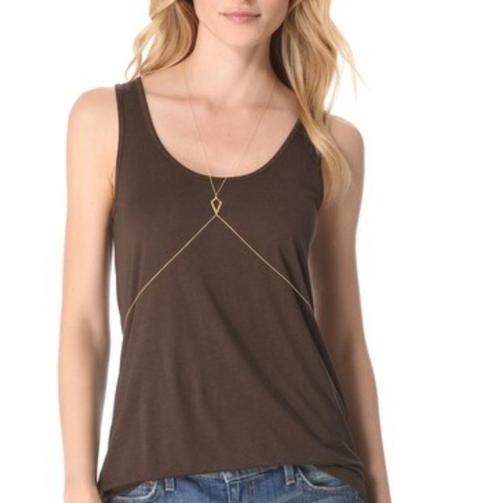 Women Fashion Rhombus Body Slave Harness Necklace Belt Waist Belly Chain - Golden
