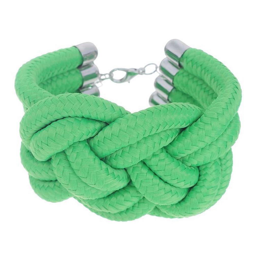 Handmade Chunky Fluorescent Cotton Rope Woven Neon Green Bracelet Wristband