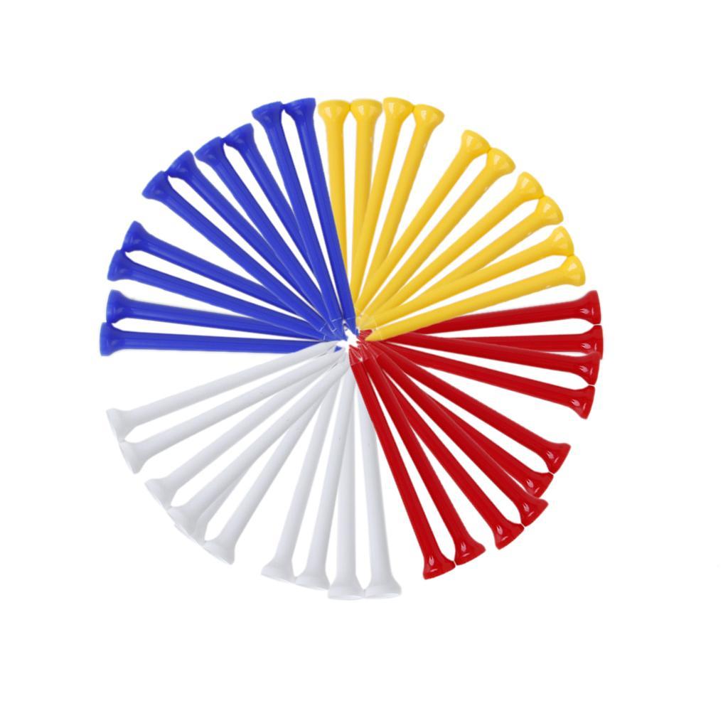 100Pcs 83mm Mixed Color Plastic Golf Tees