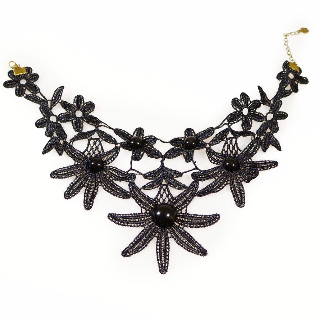 Lolita Retro Fashion Gothic Punk Lace Collar Choker Pendant Necklace Black